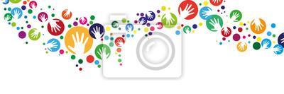 Obraz Handsilhouette mit Kreis girlande banner