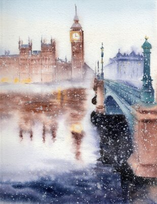 Obraz Handwork Akwarele ilustracji. Big Ben, Houses of Parliament i Westminster Bridge w London.Winter krajobrazu.