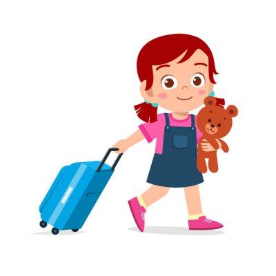 Obraz happy cute kid girl pull bag with teddy