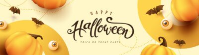 Obraz Happy Halloween banner or party invitation background with pumpkins Festive Elements Halloween