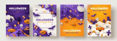 Obraz Happy Halloween party posters set with night clouds and pumpkins in paper cut style. Vector illustration. Full moon, witch cauldron, spiders web and flying bat. Place for text. Brochure background