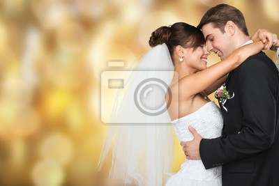 Obraz Happy just married young couple on black background, vintage