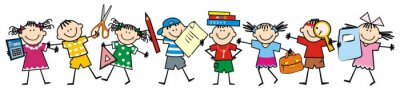 Obraz Happy kids and school supplies. Group of girls and boys. Vector icon.
