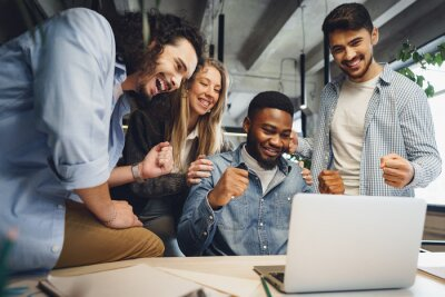 Obraz Happy overjoyed business team celebrate corporate victory