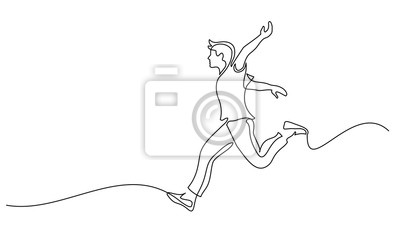 Obraz Happy running man. Continuous one line drawing