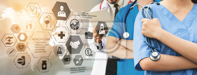 Obraz Health Insurance Concept - Doctor in hospital with health insurance related icon graphic interface showing healthcare people, money planning, risk management, medical treatment and coverage benefit.