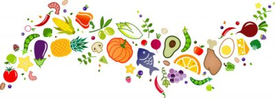 Obraz healthy, colorful & balanced diet, food icon banner: flat lay of cartoon foods and ingredients isolated on white – vector illustration