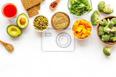 Obraz Healthy food. Vegatables and fruits on white background top view frame copy space