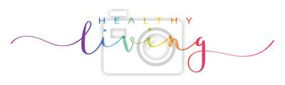 Obraz HEALTHY LIVING rainbow vector brush calligraphy banner
