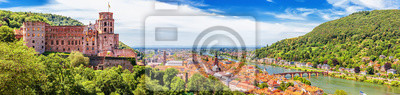 Obraz Heidelberg, Germany, aerial panoramic view with the castle, Neckar river and the Old Bridge
