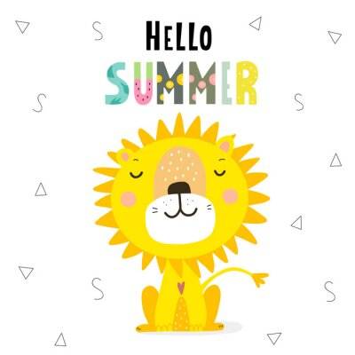 Hello summer  print with sunny lion