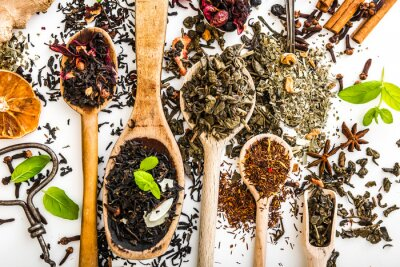 Obraz Herbata na białym stole