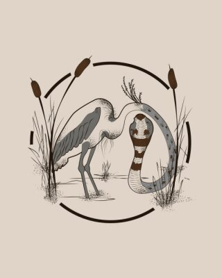 Obraz Heron body with snake head. Creative isolated ink drawing style vector illustration.
