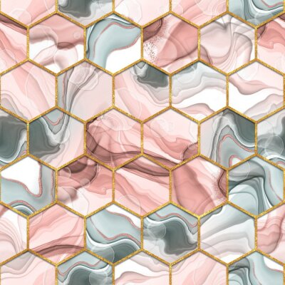 Obraz Hexagon seamless texture. Abstract gray and red trendy background