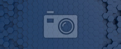Obraz Hexagonal dark blue navy background texture placeholder, 3d illustration, 3d rendering backdrop