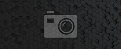 Obraz Hexagonal dark grey, black background texture, 3d illustration, 3d rendering
