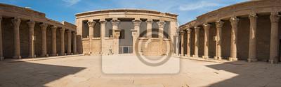Obraz Hieroglificzne rzeźby na starożytnej egipskiej świątyni wejściowej ścianie