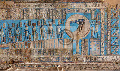 Obraz Hieroglyphic carvings and paintings on the interior walls of an ancient egyptian temple