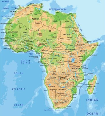 Obraz High detailed Africa physical map with labeling.