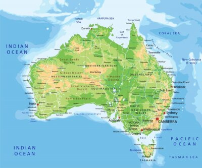 Obraz High detailed Australia physical map with labeling.