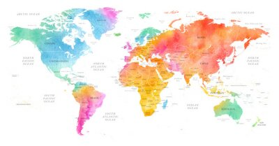 Obraz High detailed Multicolor Watercolor World Map Illustration with borders, oceans and countries on white Background, Side View.