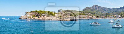 High resolution panorama of Port de Soller, picturesque little village located at the foot of the Serra de Tramuntana, Majorca, Spain.