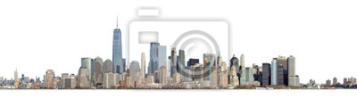 Obraz High resolution panoramic view of Lower Manhattan from the Ellis Island - isolated on white. Clipping path included.