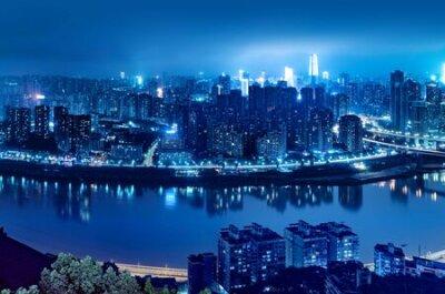 Obraz High-rise mountain city night, China's western city of Chongqing.