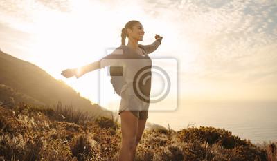 Obraz Hiker feeling happy during a hike