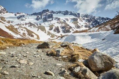 Hiking trail to Cerro Esfinge near Ushuaia, Tierra del Fuego Province, Argentina.