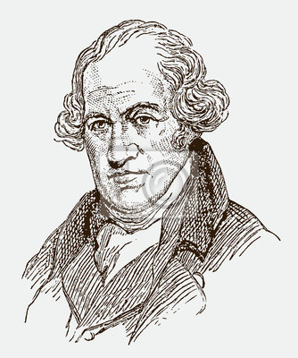 Obraz Historical portrait of James Watt the inventor, engineer and chemist. Illustration after an engraving from the 19th century. Editable in layers