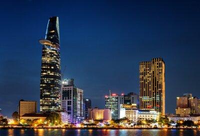 Ho Chi Minh City skyline at night. Scenic cityscape