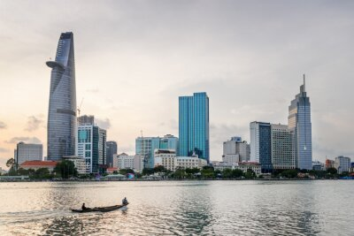 Ho Chi Minh City skyline. Skyscraper and other modern buildings