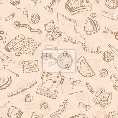 Obraz Hobby background. Handmade items seamless pattern.