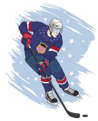 Obraz Hokej na lodzie gracz amerykański