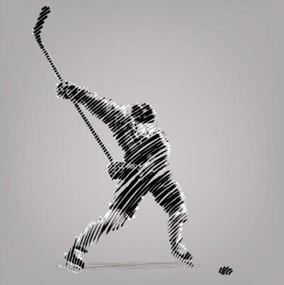 Obraz Hokej player.Artwork w stylu rysunku tuszem.