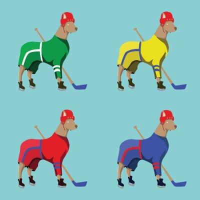 Obraz Hokej Psy Maskotki w kolorowe Sportswear