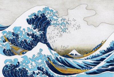 Obraz Hokusai Wielka fala dorosłych Kanagawa strona kolorowania