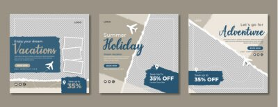 Obraz Holiday travel social media banner template design. Travelling, tour or tourism business online marketing web post or poster. Summer beach traveling flyer with logo, icon, abstract background.