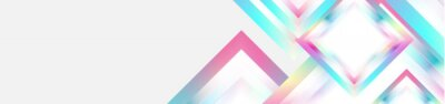 Obraz Holographic glossy squares geometric abstract tech banner. Vector art colorful background