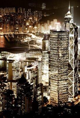 Obraz Hong Kong downtown w nocy