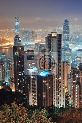 Hong Kong w nocy