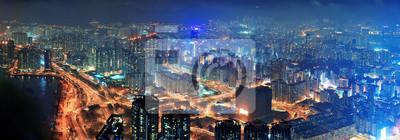 Hong Kong z lotu ptaka nocy