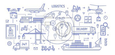 Obraz Horizontal banner with various freight transport carrying goods drawn with contour lines. Cargo shipping, international delivery, world trade. Monochrome vector illustration in modern linear style.