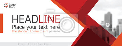 Obraz Horizontal web banner, vector template, with space for your picture