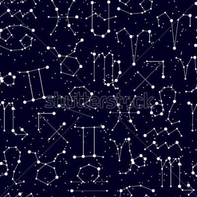 Obraz Horoskop bez szwu, wszystkie znaki zodiaku w stylu konstelacji z linii i gwiazd na czarne niebo. Niekończący się tło gwiaździsty zodiakuje symbole