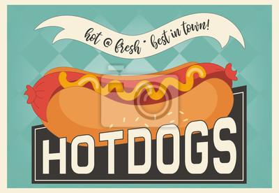 Hot dog retro plakat. Ilustracji wektorowych.