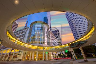 Obraz Houston Downtown zachód słońca wieżowce Texas