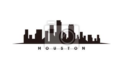 Obraz Houston skyline and landmarks silhouette vector