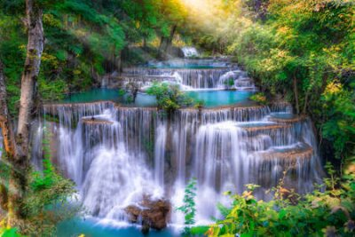Obraz Huai Mae Kamin waterfall(Fourth level) Srinakarin Dam in Kanchanaburi, Thailand